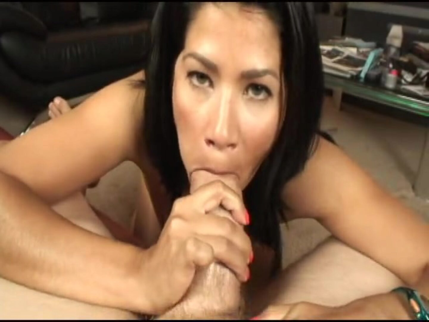 Chica%27s Place oral-job spunk fountain Super-hot latina hottie gives a naughty oral-job There is a sex toy taped to her leg