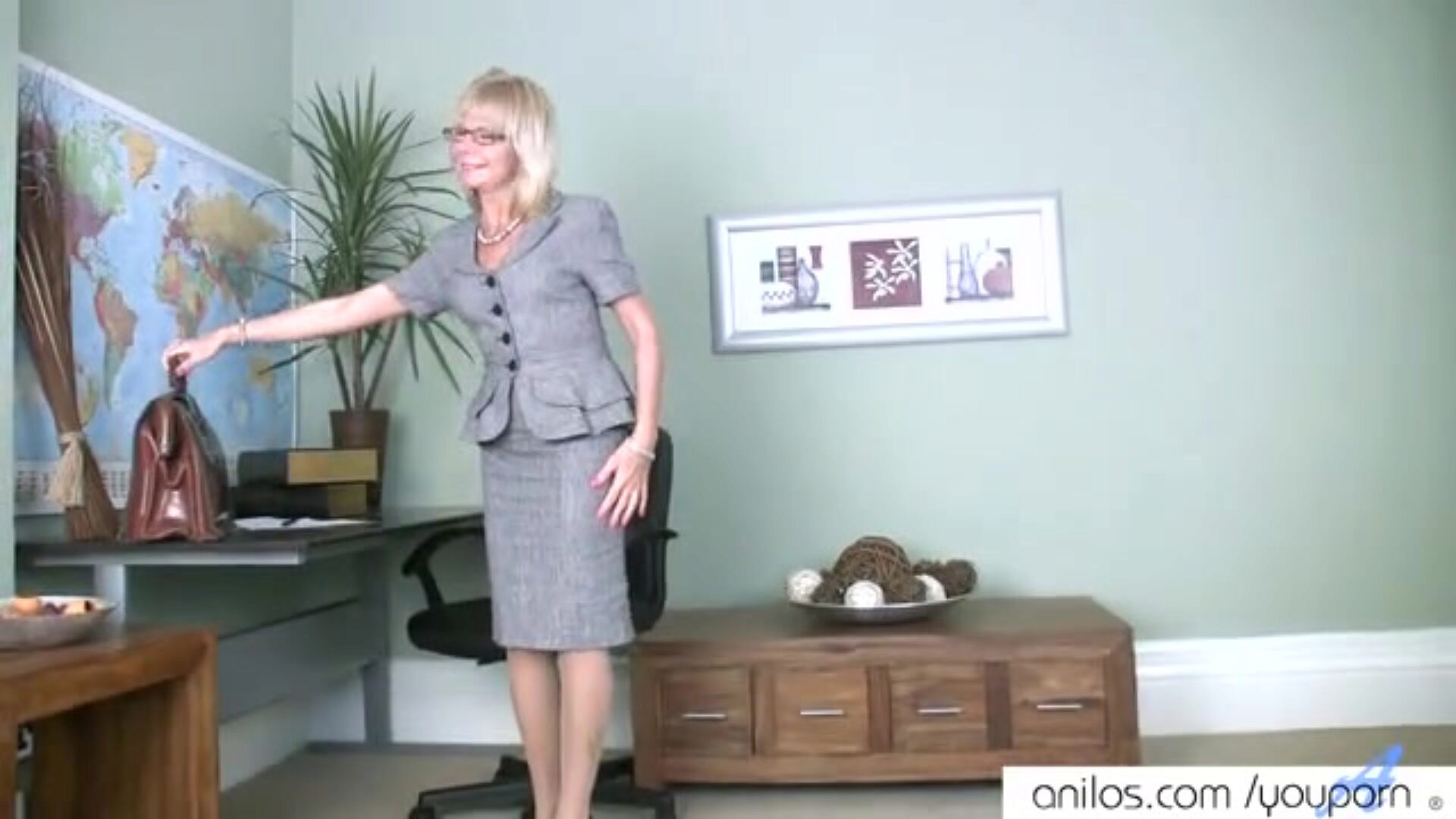 Mature mama 1st nasty clip See this mature milf do her highly first naughty movie scene and finger fuck her bald pussy to orgasm in her office