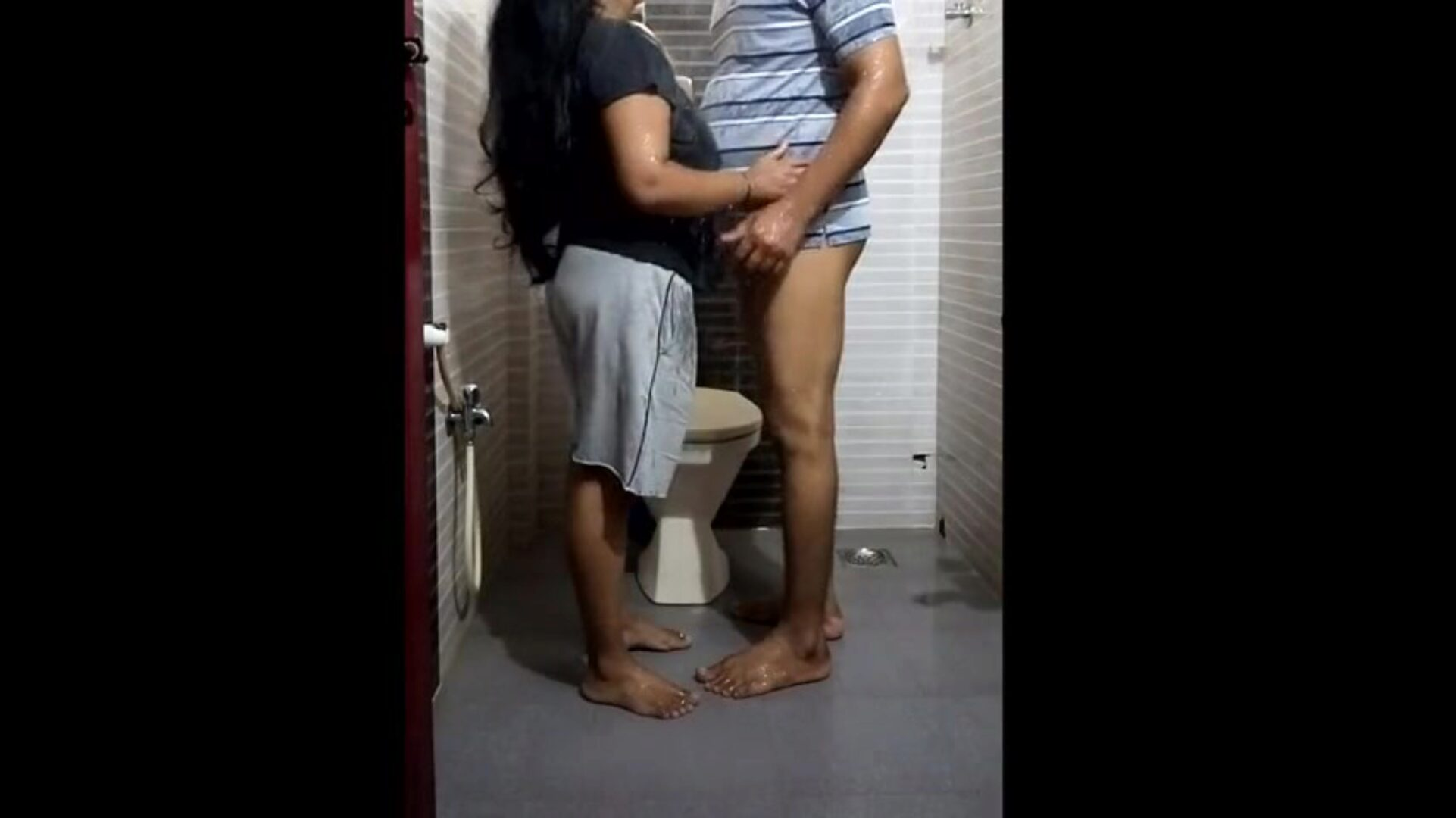 Bathroom with my wife Watch and subscribe my channel.