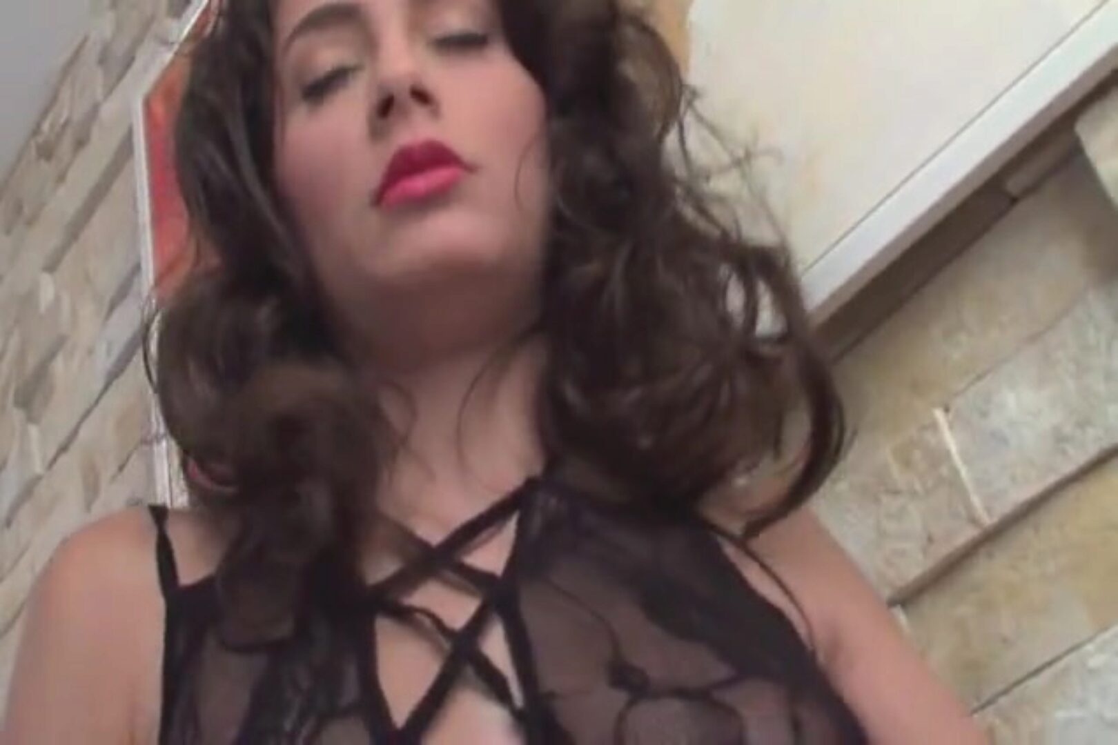 Petite brunette fucking Petite brunette pumping in a sexy crotchless bodystocking