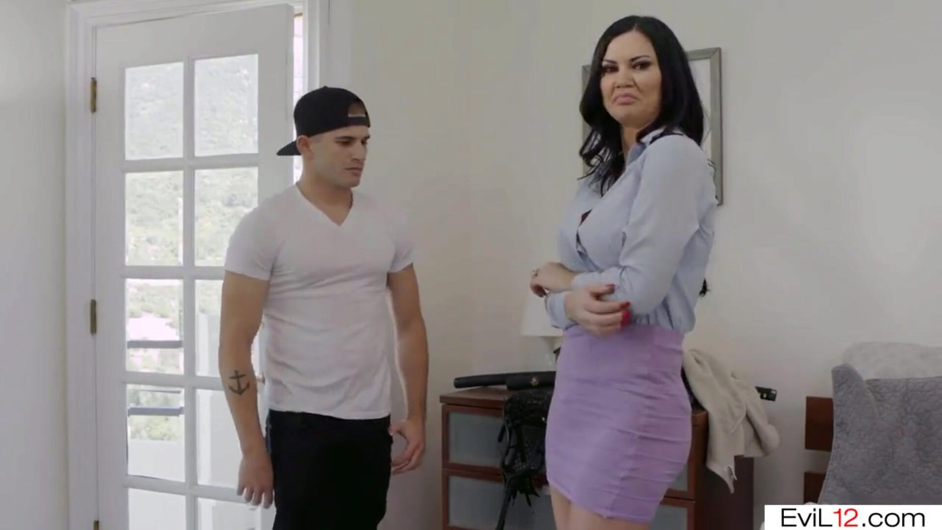 Dark haired step mommy with big love muffins pumped by her step son