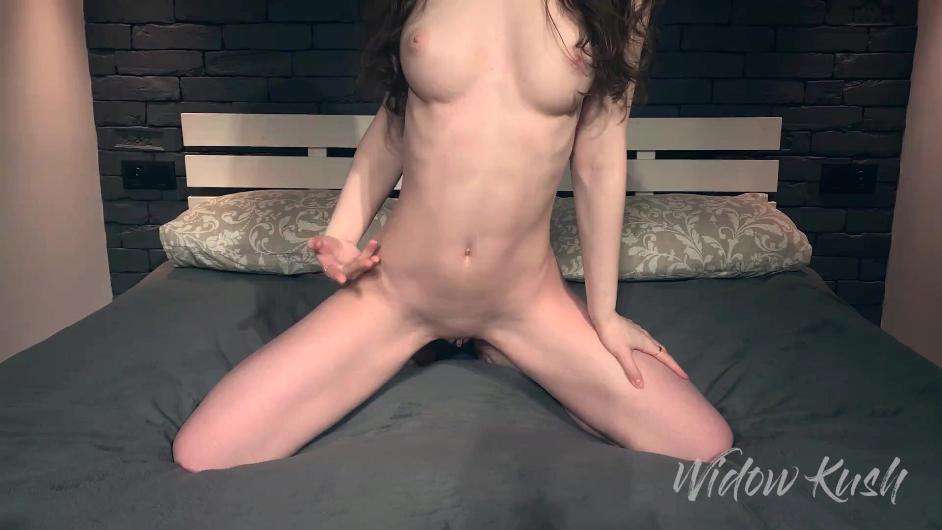 Moistened Pussy of a Young Girl with Cream after Hot Sex