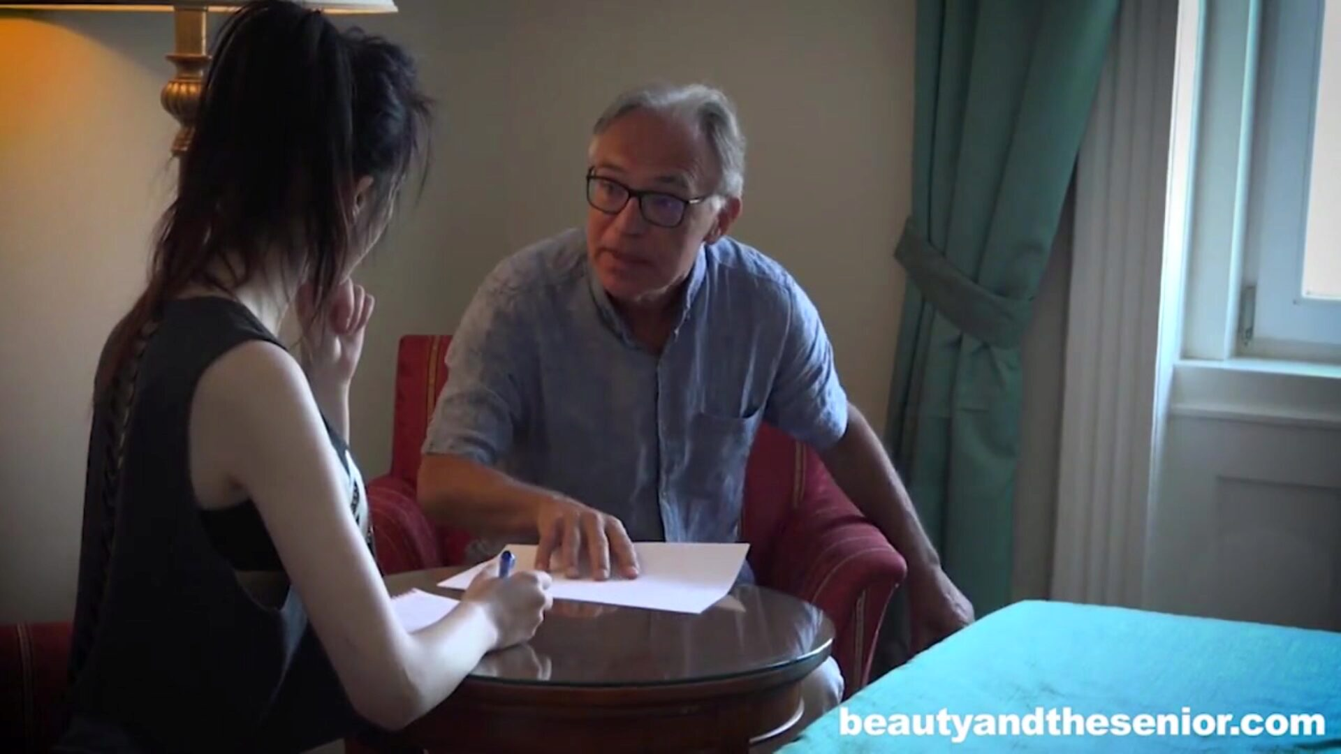 I've missed u so much, Grandpa! Vera missed her grandpa so much! He's willing to train her some English and she's ready to pay him back. Catch the utter 4K ULTRA HD Video at BeautyAndTheSenior .com