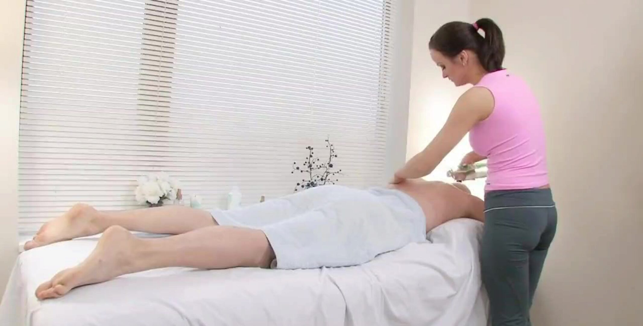 Cute massagist receives his large rock-hard meat pole
