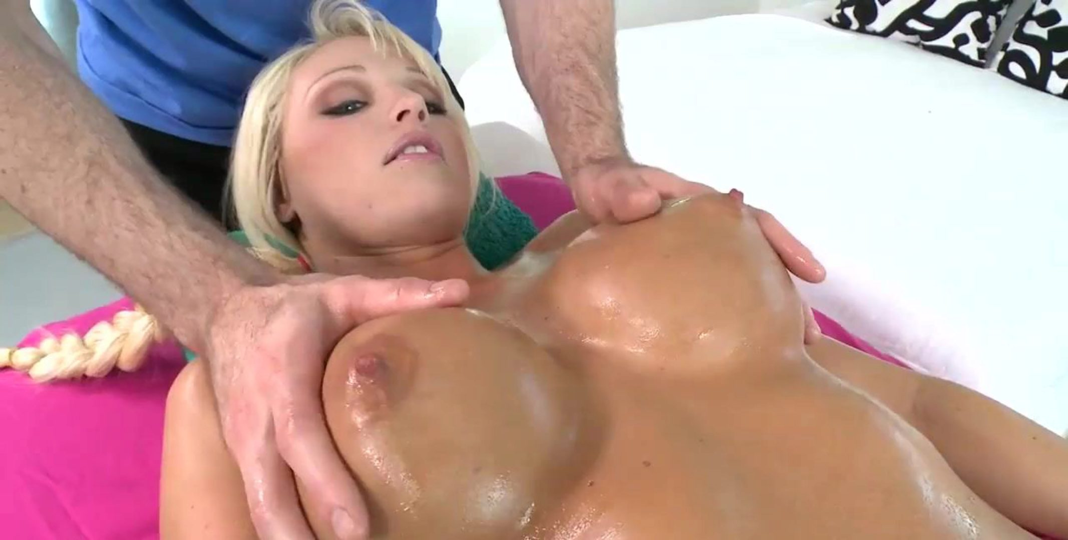 Perfect Blonde Sucks Dick on Massage Table